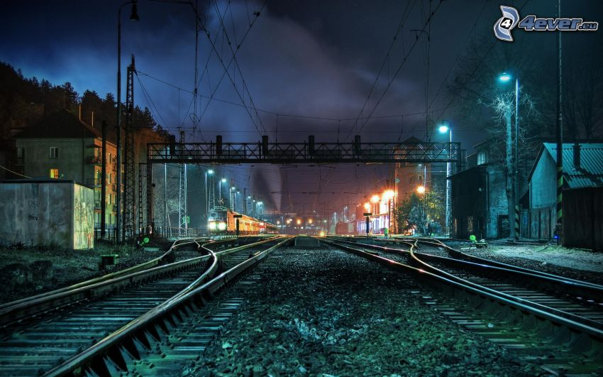 rails, night, railway station