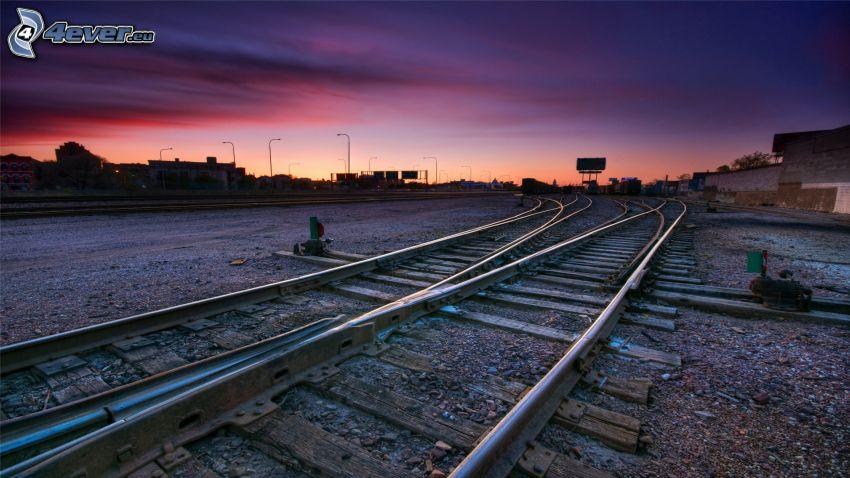 rails, purple sky