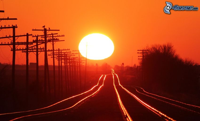 rails, sunset, red sky, power lines
