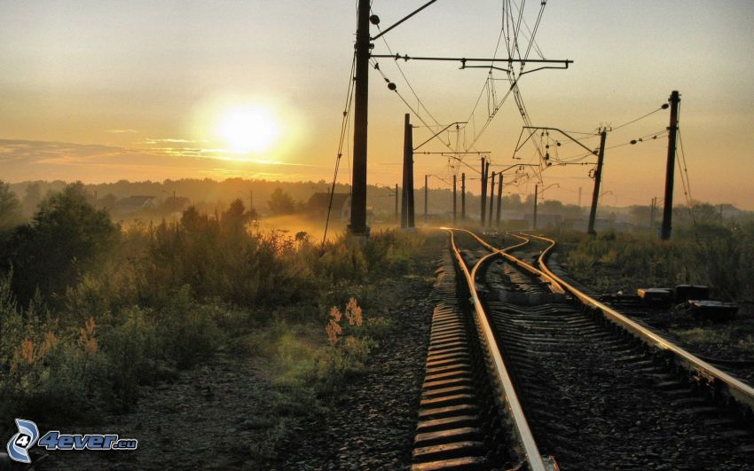 rails, sunset