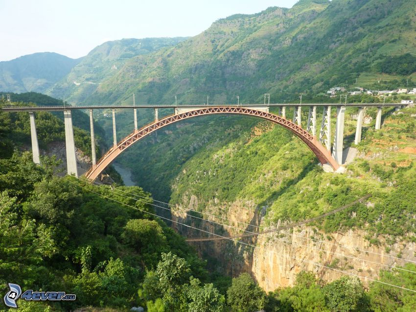 railway bridge, valley, mountain