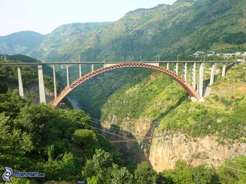 railway bridge, valley, mountain