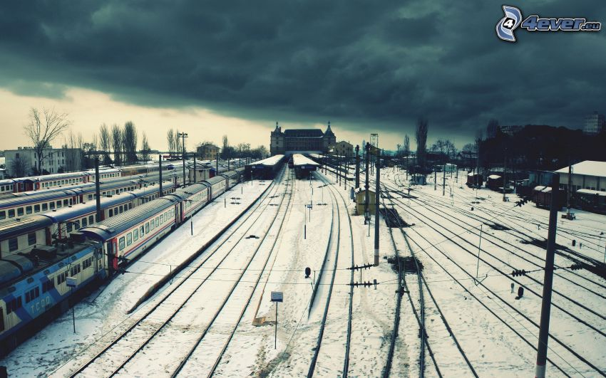 railway station, clouds, rails, snow