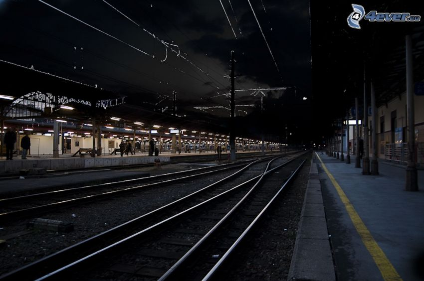 railway station, night, rails