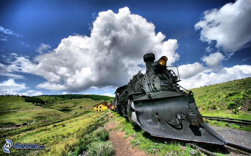steam locomotive, clouds, HDR, valley