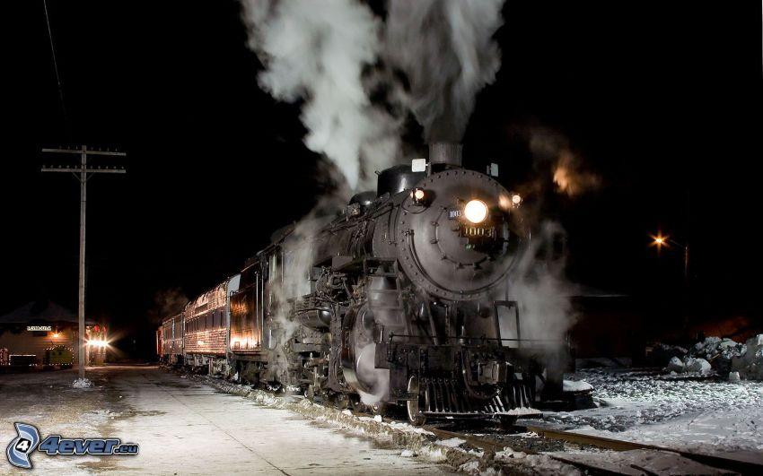 steam locomotive, night