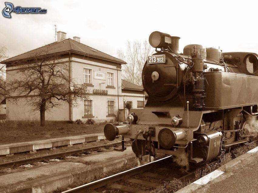 steam locomotive, railway station