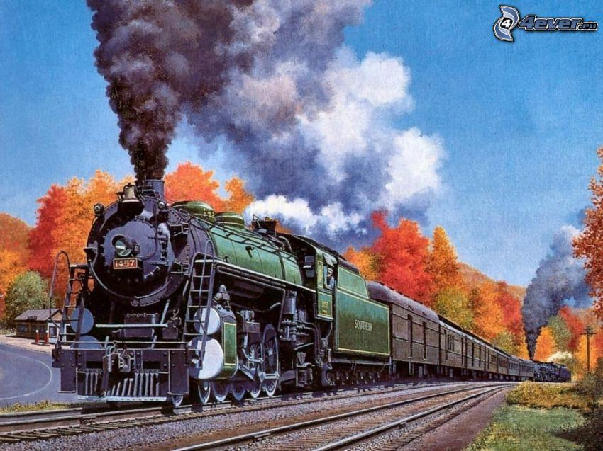 steam locomotive, steam train, drawing