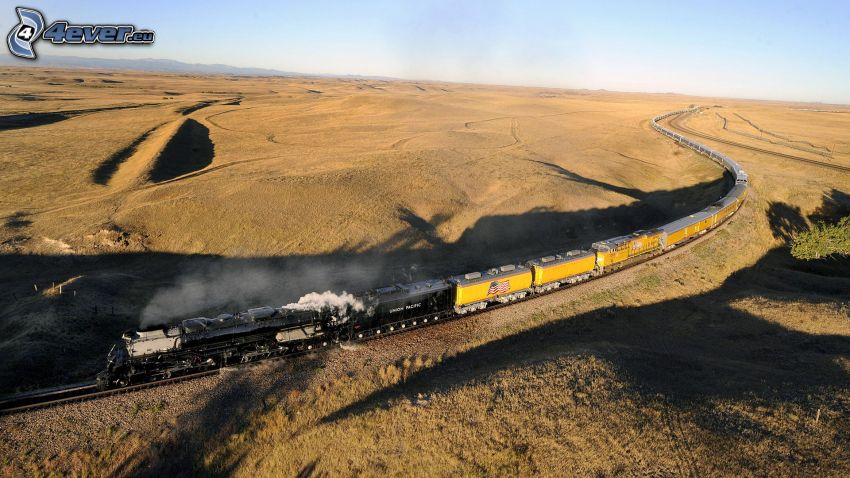 steam train, Big Boy, fields, USA