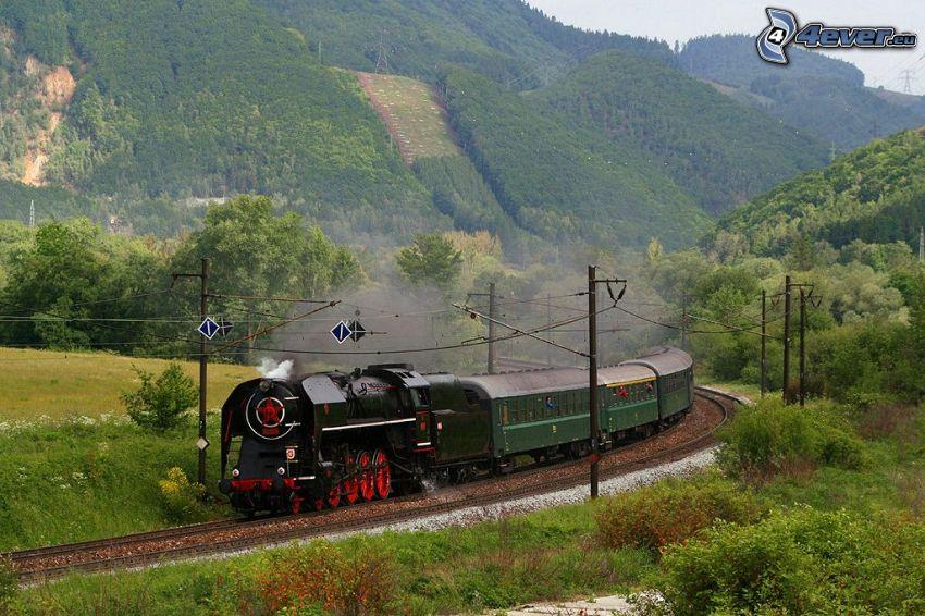 steam train, hills