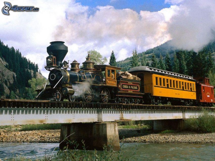 steam train, Jupiter, railway bridge, River, clouds