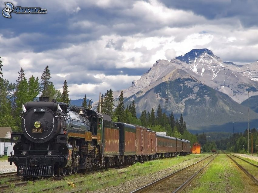 steam train, rails, mountain, clouds
