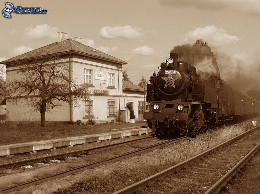 steam train, railway station, Jelenec, railway