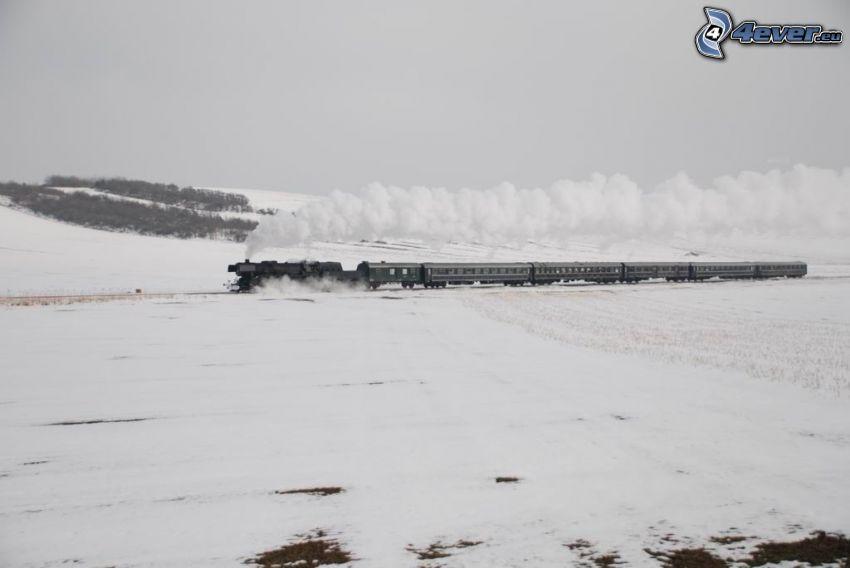 steam train, snowy landscape