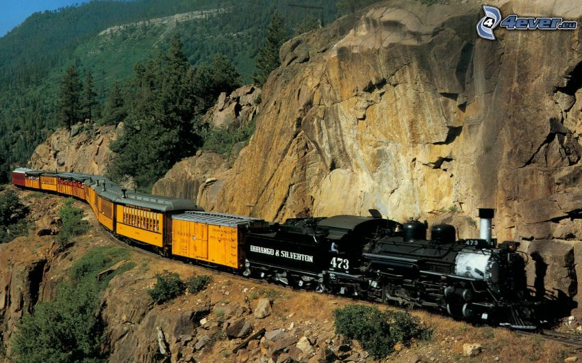 steam train, steam locomotive, rocks, cliff