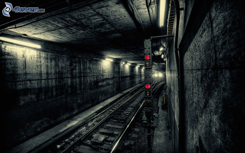 subway, railway tunnel, rails, traffic light
