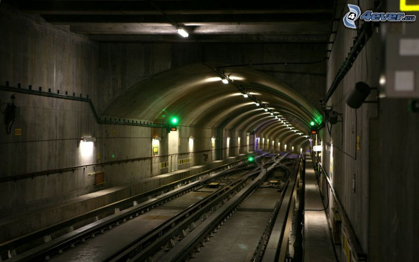 subway, railway tunnel, rails