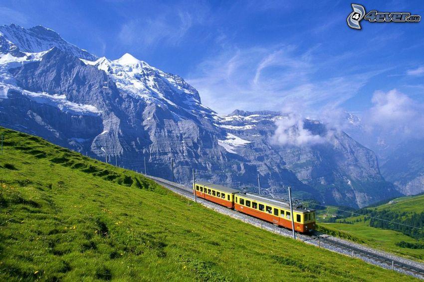 train, Alps, mountains