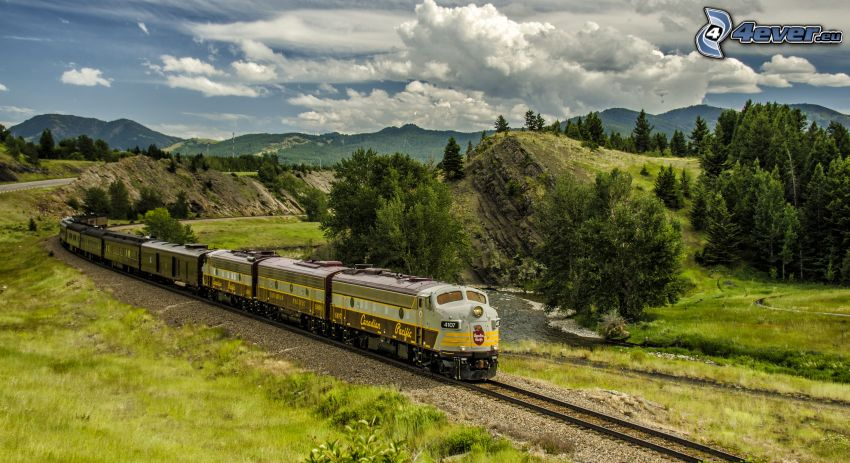 train, green trees, mountain, clouds, HDR