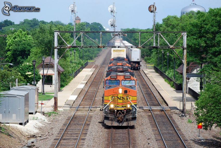 train, rails, BNSF, USA