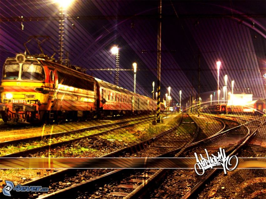 train, rails, locomotive, station, hip hop