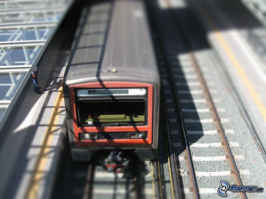 train, railway station, diorama