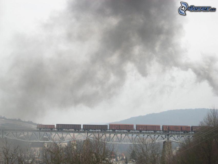train, smoke, railway bridge