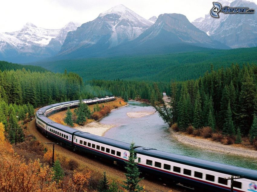 train, snowy mountains, coniferous forest, River