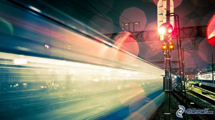 train, speed, night, traffic light