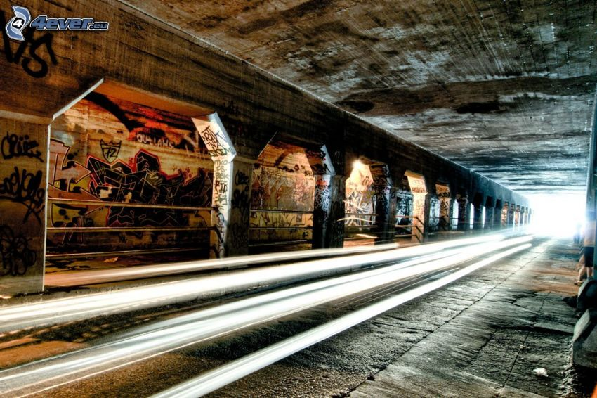 tunnel, lights, graffiti