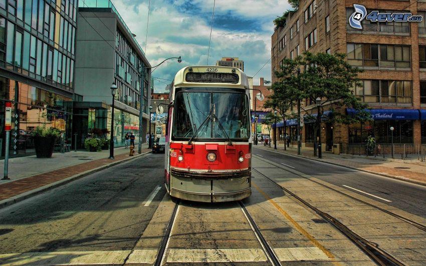 tram, street, HDR