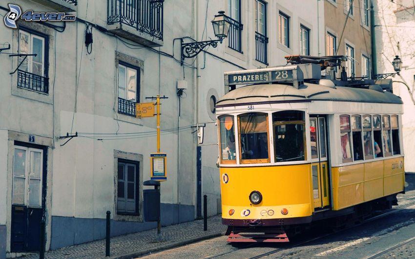 tram, street, houses