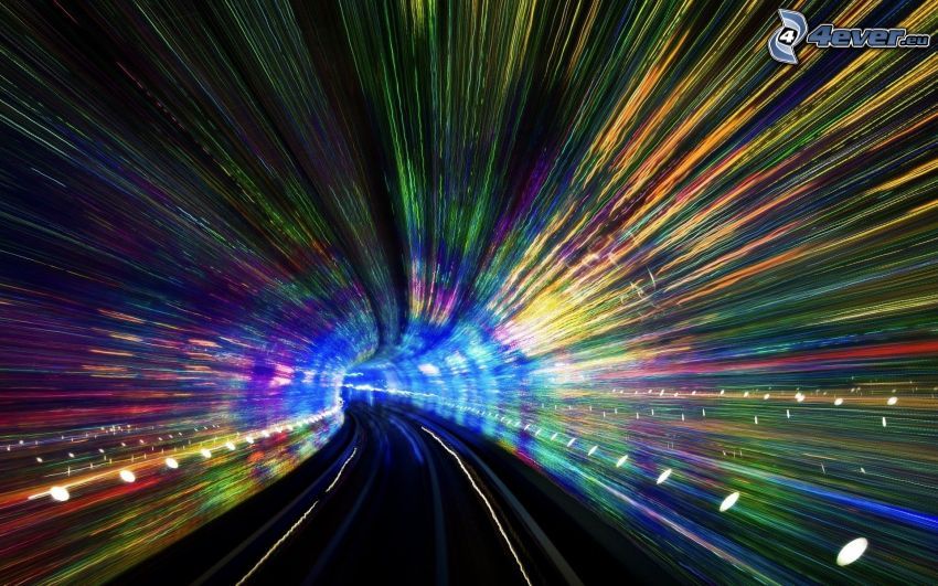 tunnel, lights, speed, night