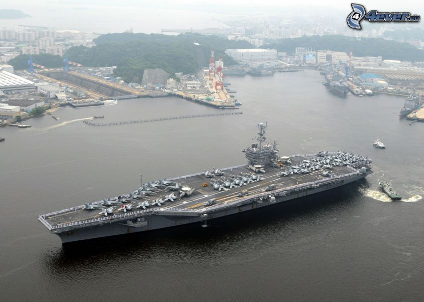 USS George Washington, aircraft carrier, harbor
