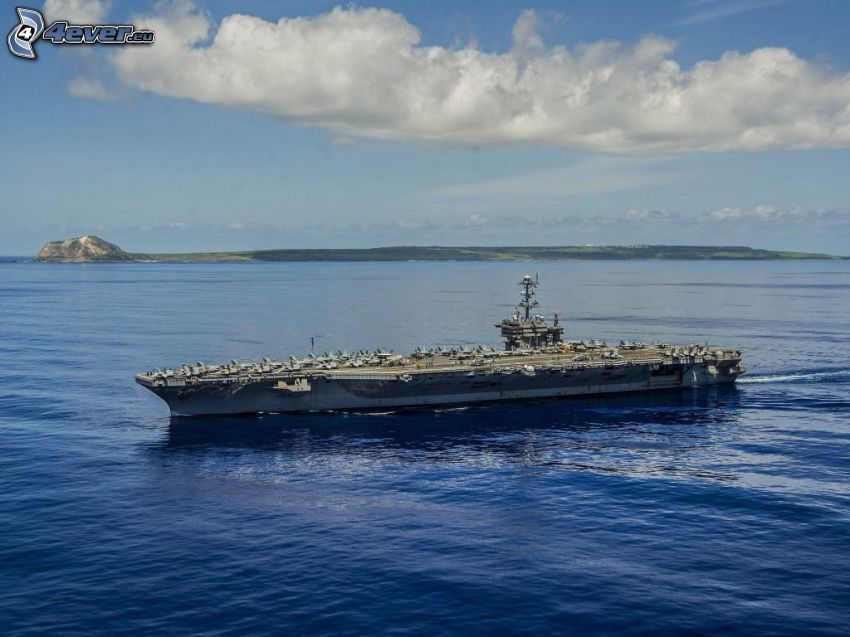 USS George Washington, aircraft carrier, sea, mountain