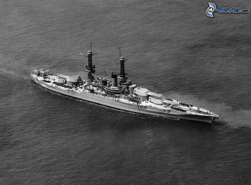 USS Idaho, black and white photo