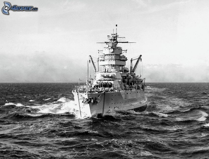 USS Idaho, open sea, black and white photo