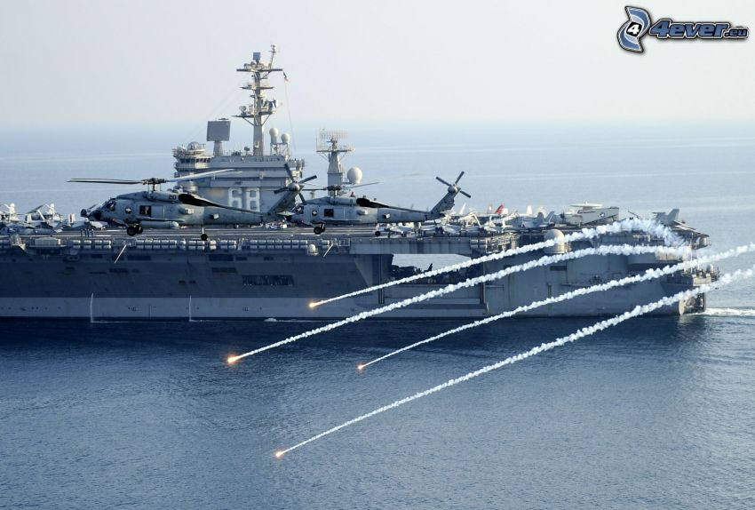 USS Nimitz, aircraft carrier, shooting