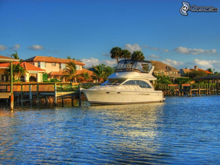 yacht, coastal city, HDR