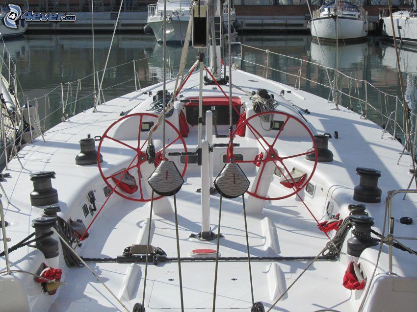 yacht, rudder