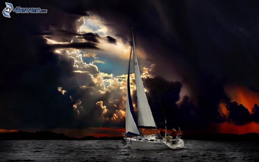 yacht, sea, clouds