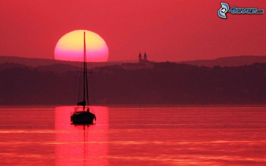 yacht, ship, red sunset